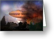 Fantastic Realism Greeting Cards - Mystic UFO Greeting Card by Otto Rapp