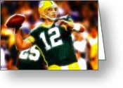 Bay Drawings Greeting Cards - Mystical Aaron Rodgers Greeting Card by Paul Van Scott