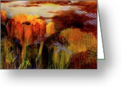 Sky Painting Greeting Cards - Mystical Garden Greeting Card by Betty OHare