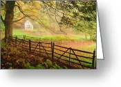 Split-rail Fence Greeting Cards - Mystique - A Connecticut Autumn scenic Greeting Card by Thomas Schoeller