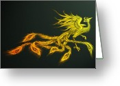 Phoenix Greeting Cards - Myths Ablaze Greeting Card by Simon Sturge