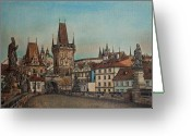 Prague Pastels Greeting Cards - Na Karlovem moste Greeting Card by Gordana Dokic Segedin