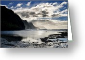 Pacific Ocean Photo Greeting Cards - Na Pali Coast Kauai Hawaii Greeting Card by Brendan Reals