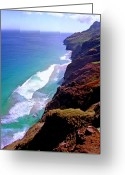 Tramping Greeting Cards - Na Pali Coast Trail Greeting Card by Kevin Smith