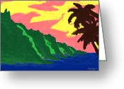 Island Artist Pastels Greeting Cards - Na Pali Coast Greeting Card by William Depaula