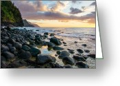 Na Pali Coast Kauai Greeting Cards - Na Pali Sunset Greeting Card by Adam Pender