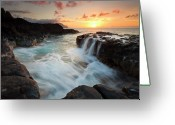 Tides Greeting Cards - Na Pali Sunset Greeting Card by Mike  Dawson