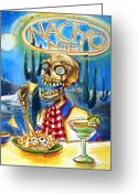 Texan Greeting Cards - Nacho Nite Greeting Card by Heather Calderon