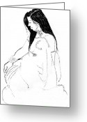 Life Drawing Drawings Drawings Greeting Cards - Nadia 2 Greeting Card by Joanne Claxton