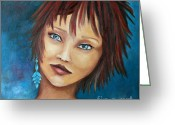 Short Hair Greeting Cards - Nadine Greeting Card by Jutta Maria Pusl