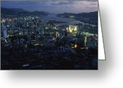 City Lights And Lighting Greeting Cards - Nagasaki Overlooking Its Harbor At Dusk Greeting Card by James L. Stanfield