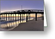 Beach Photographs Greeting Cards - Nags Head Fishing Pier at Sunrise - Outer Banks Scenic Photography Greeting Card by Rob Travis
