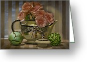 Hyper-realism Painting Greeting Cards - Naimark Teapot Greeting Card by Tony Chimento