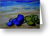 Sandals Greeting Cards - Naked Feet on the Beach Greeting Card by Patti Schermerhorn