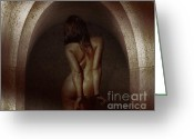 Striptease Greeting Cards - Naked woman in fear and bound with handcuffs in a dark dungeon Greeting Card by William Langeveld