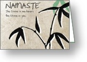 Tan Greeting Cards - Namaste Greeting Card by Linda Woods