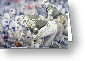 Football Painting Greeting Cards - Namath Greeting Card by Rich Marks