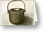 Whale Greeting Cards - Nantucket Basket Greeting Card by Charles Harden