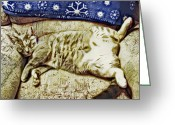 David Paul Miyu Yuki Greeting Cards - Nap Position Number 16 Greeting Card by David G Paul