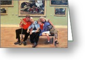 Portriat Greeting Cards - Nap Time at the Louvre Greeting Card by Tom Roderick
