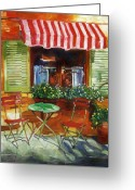 Impressionist Greeting Cards - Napa Bistro Greeting Card by David Lloyd Glover