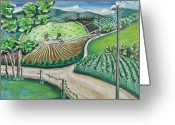 Country Dirt Roads Painting Greeting Cards - Napa Valley 2 Greeting Card by Jack Warren