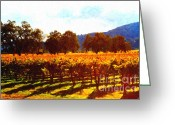 Wine Art Digital Art Greeting Cards - Napa Valley Vineyard in Autumn Colors 2 Greeting Card by Wingsdomain Art and Photography