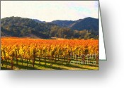Vineyard Digital Art Greeting Cards - Napa Valley Vineyard in Autumn Colors Greeting Card by Wingsdomain Art and Photography