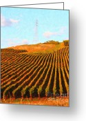 Vineyard Digital Art Greeting Cards - Napa Valley Vineyard . Portrait Cut Greeting Card by Wingsdomain Art and Photography