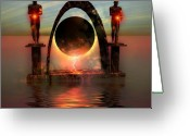 Creativity Digital Art Greeting Cards - Napierian 12 Greeting Card by Corey Ford