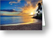 Tropical Sunset Greeting Cards - Napili Bay Maui Greeting Card by Kelly Wade