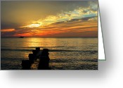 Paradise Pier Attraction Greeting Cards - Naples Sunset Greeting Card by Sean Allen