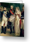 Napoleonic Wars Greeting Cards - Napoleon Bonaparte Receiving Queen Louisa of Prussia Greeting Card by Nicolas Louis Francois Gosse