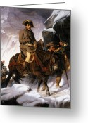 1856 Greeting Cards - Napoleon Crossing the Alps Greeting Card by Hippolyte Delaroche