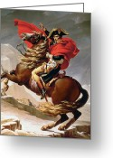 Napoleon Painting Greeting Cards - Napoleon Crossing the Alps Greeting Card by Jacques Louis David