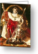 Napoleonic Wars Greeting Cards - Napoleon I on the Imperial Throne Greeting Card by Ingres
