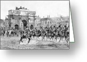 Military Hero Drawings Greeting Cards - Napoleon Reviewing His Troops Greeting Card by War Is Hell Store