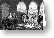 Napoleonic Wars Greeting Cards - Napoleon Visits Plague Victims Greeting Card by Photo Researchers