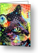 Abstract Art Greeting Cards - Nappy Cat Greeting Card by Dean Russo