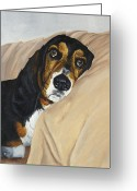 Dog Prints Greeting Cards - Naptime - Bassett Greeting Card by Johanna Lerwick