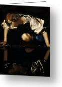 Puddle Painting Greeting Cards - Narcissus Greeting Card by Caravaggio