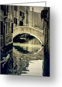 Venice Waterway Greeting Cards - narrow channel with a bridge in Venice Greeting Card by Joana Kruse