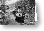 Southern Rocky Mountains Greeting Cards - Narrow Gauge Memories Black and White Greeting Card by Ken Smith