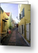  Woman In A Dress Photo Greeting Cards - Narrow Street in Curacao Greeting Card by Sharon Kalniz