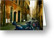Motor Greeting Cards - narrow streets in Rome Greeting Card by Joana Kruse