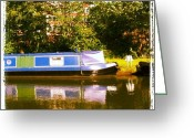 Sky Greeting Cards - Narrowboat In Blue Greeting Card by Abbie Shores