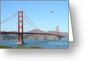 Program Greeting Cards - NASA Space Shuttles Final Hurrah Over The San Francisco Golden Gate Bridge Greeting Card by Wingsdomain Art and Photography