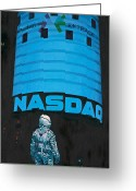 Science Fiction Tapestries Textiles Greeting Cards - Nasdaq Greeting Card by Scott Listfield