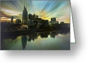 Nashville Greeting Cards - Nashville Over The Cumberland Greeting Card by Steven  Michael
