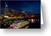 Nashville Greeting Cards - Nashville Skyline and Riverboat Greeting Card by Mark Currier